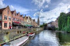 De kanalen van Brugge, België stock foto