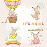 De Kangoeroe van het babymeisje - voor Babydouche of de Kaarten die van de Babyaankomst wordt geplaatst vector illustratie