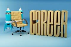 De kansen van de carrière. De leunstoel van het bureau met raket Royalty-vrije Stock Afbeelding