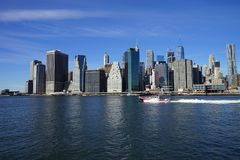 De Kant van New York Manhatten met Hudson River Stock Foto