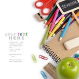 De kantoorbehoeften van de school met copyspace Stock Fotografie