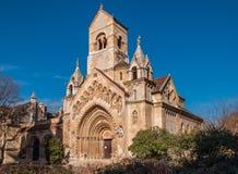 De Kapel van Jak in Vajdahunyad-Kasteel is een goed werkende Katholieke die chuch, in Boedapest wordt gevestigd stock foto's