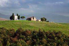 De kapel Vitaleta in Val-d'Orcia, Toscanië royalty-vrije stock foto