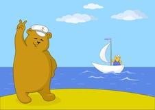 De kapitein van de teddybeer Stock Foto