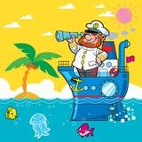 De kapitein van het beeldverhaal Stock Foto