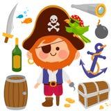 De Kapitein van de piraat Vector illustratiereeks royalty-vrije illustratie