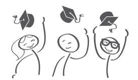 De Kappen van de graduatie die in de Lucht worden geworpen royalty-vrije illustratie