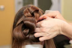 De kapper doet elegante hairdress Royalty-vrije Stock Afbeelding