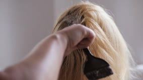 De kapper doet haar het kleuren in schoonheidsstudio, professionele kleuring en haarverzorging, schoonheidszaken stock video