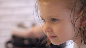 De kapper droogt de droogkap een klein meisje Haarverzorging in de schoonheidssalon stock video