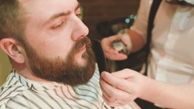 De kapper maakt de besnoeiing of het stileren van een baard stock footage