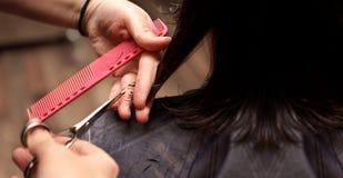 De kapper snijdt haar in herenkapper royalty-vrije stock fotografie