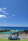 De kar van het golf bij het strand Stock Afbeelding