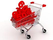 De kar van Shoping over wit Stock Afbeelding