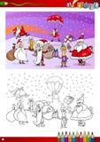 De karakters die van de Kerstman boek kleuren Stock Foto's