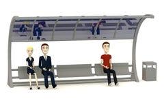 De karakters die van het beeldverhaal op bushalte wachten Stock Afbeeldingen