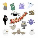 De karakters en de pictogrammen van Halloween Kleurrijke beeldverhaalillustratie royalty-vrije illustratie