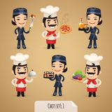 De Karakters Set1.1 van het chef-koksbeeldverhaal Stock Foto's