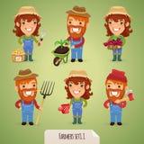 De Karakters Set1.1 van het landbouwersbeeldverhaal Stock Foto's