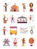 De karakters van de het beeldverhaalpret van Carnaval en van het circus Eerlijke carrousel en pretparkelementen vectorinzameling Stock Afbeelding