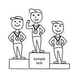 De karakters van de tekeningsschets, winnaar met medaille Stock Foto