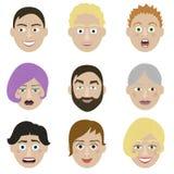 De karakters van emotiesgezichten Stock Afbeelding