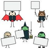 De karakters van Halloween met tekens Stock Foto