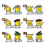 De karakters van het beeldverhaal - Europese mensen Stock Foto's