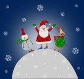 De karakters van het beeldverhaal. Kerstkaart Stock Foto