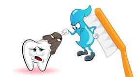 De karakters van het beeldverhaal De microbe valt de tand aan, en in dit momet mengt het deeg zich op de borstel in het conflict  stock illustratie