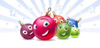 De karakters van het de ballenBeeldverhaal van het nieuwjaar en van Kerstmis royalty-vrije stock afbeelding