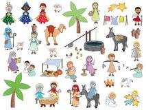 De Karakters van het geboorte van Christusbeeldverhaal Royalty-vrije Stock Afbeelding