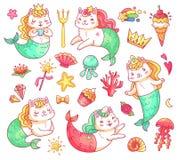 De karakters van het de kattenbeeldverhaal van de meerminpot De onderwater vectorreeks van kattenmeerminnen royalty-vrije illustratie
