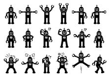 De Karakters van het robotbeeldverhaal in Divers stelt, Acties, en Emoties Royalty-vrije Stock Foto's