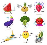 De karakters van het sportenfruit Reeks Leuke gezonde groenten en grappige gezichtsbessen Gelukkige de auberginebanaan van de voe vector illustratie