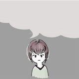 De Karakters van het vrouwenbeeldverhaal met het sprekende malplaatje van de overspraakstorings vectorkunst Stock Foto's