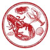 De karakters van zeevruchten Royalty-vrije Stock Afbeeldingen