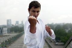 De karate stelt tegen de stad Stock Foto's