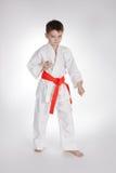 De karate van de jongenspraktijk stock afbeeldingen