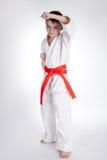 De karate van de jongenspraktijk stock fotografie