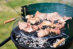 De Karbonade van het varkensvleesvlees op de Barbecue Gril wordt gekookt die Royalty-vrije Stock Foto's