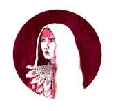 De karmozijnrode piek digitale kunst van tekeningssai royalty-vrije stock afbeelding