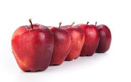 De kastanjebruine appelen stelden op een rij close-up op Royalty-vrije Stock Fotografie