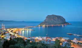 De kasteel-stad van Monemvasia in Lakonia, Griekenland Stock Fotografie
