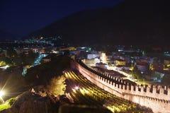 De kastelen van Bellinzona, in Zwitserland stock fotografie
