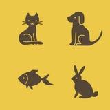 De kat, de hond, het konijn en de vissen van huisdierenpictogrammen Stock Fotografie