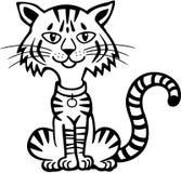 De kat die van de gestreepte kat de camera bekijkt royalty-vrije illustratie