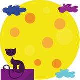 De kat en de Maan Royalty-vrije Stock Afbeeldingen