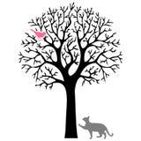 De kat en de vogel royalty-vrije illustratie