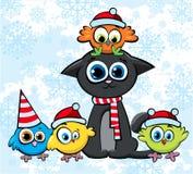 De kat en de vogels van Kerstmis met hoeden Stock Afbeeldingen